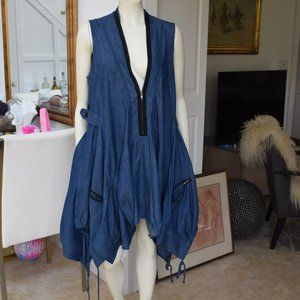 NWOT Gracia Sleeveless Denim Swing Dress, SZ L,